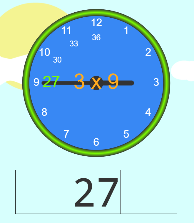 Multiplication fact 9 question for student to practice.