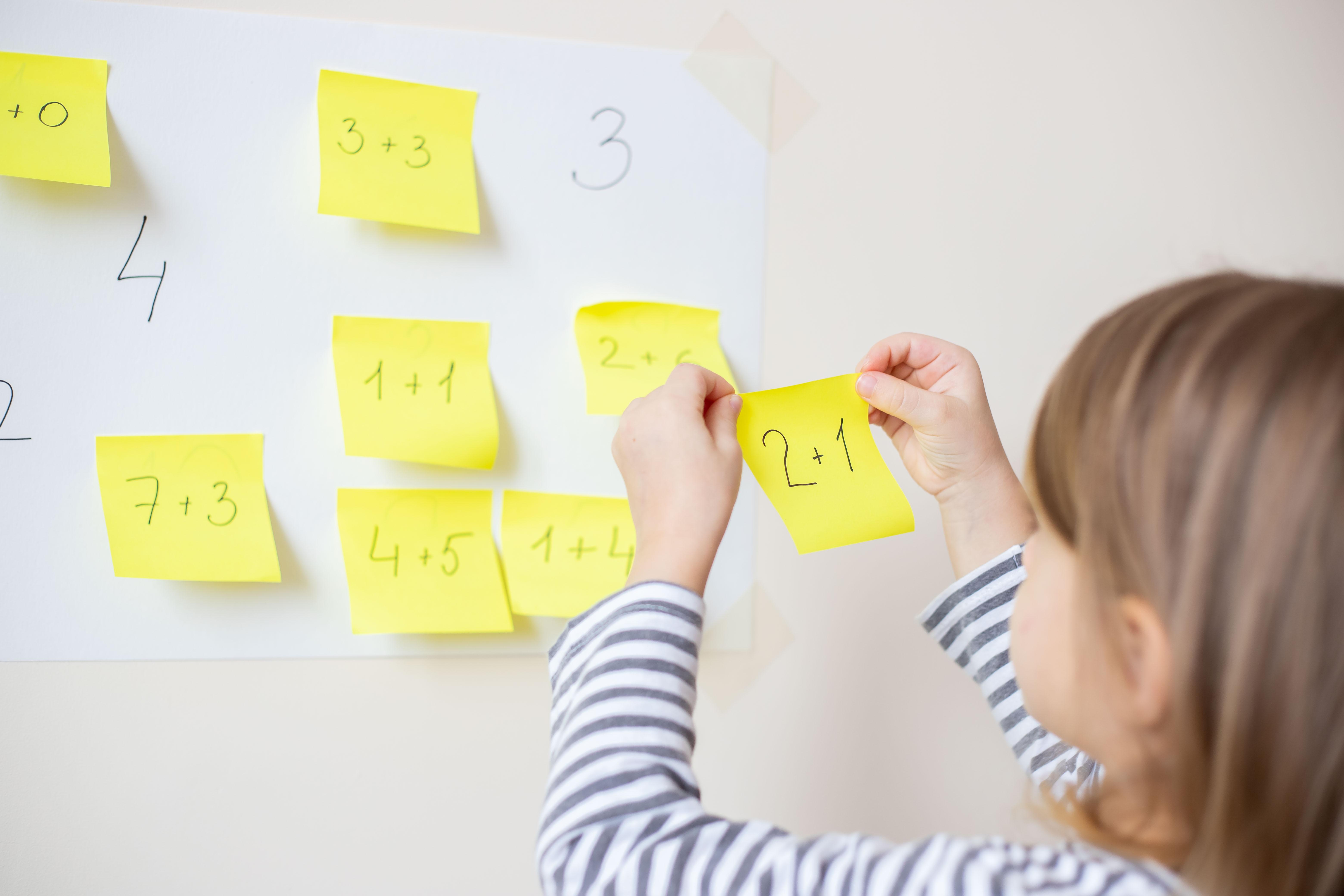 Student working on basic math practice.