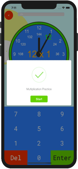 Basic math practice on multiplication table 12